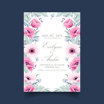 Zaproszenie na ślub kwiatowy z zawilec i kwiaty maku