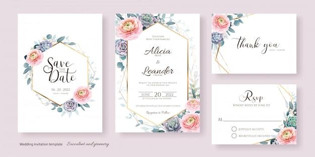 Zaproszenie na ślub kwiatowy, zapisz datę, dziękuję, szablon karty rsvp.