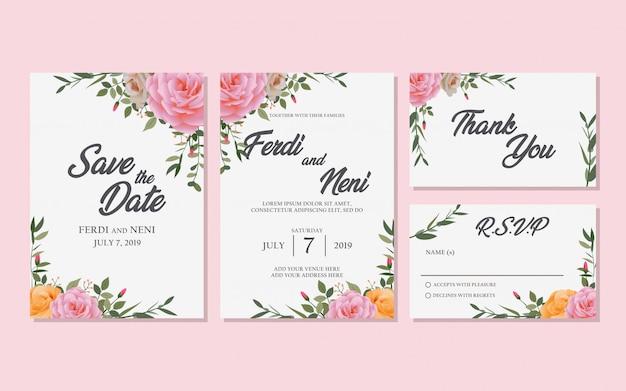 Zaproszenie na ślub kwiatowy zestaw tło