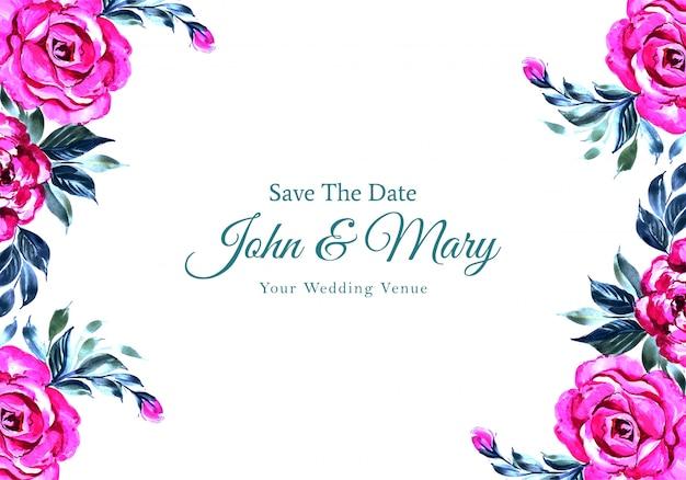 Zaproszenie na ślub kwiaty rama karty