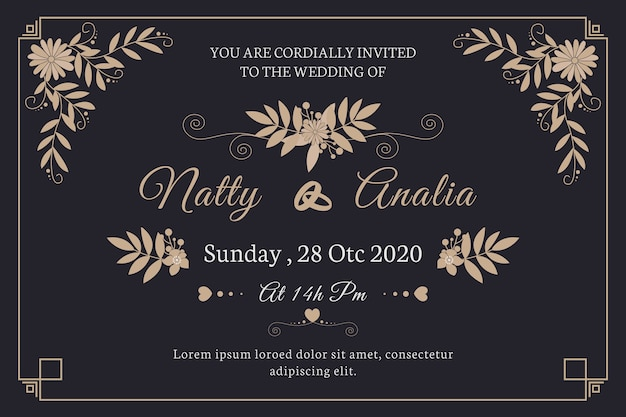 Zaproszenie na ślub ładny retro