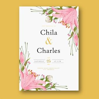 Zaproszenie na ślub lilia akwarela