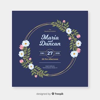 Zaproszenie na ślub niebieski kwiatowy rama z płaska konstrukcja