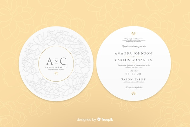 Zaproszenie na ślub o prostym designie