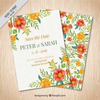 Zaproszenie na ślub ozdobione ręcznie malowane kwiaty