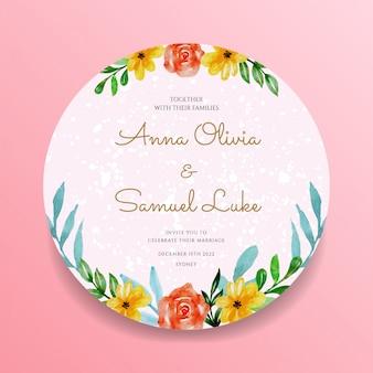 Zaproszenie na ślub pin koło akwarela kwiatowy wzór