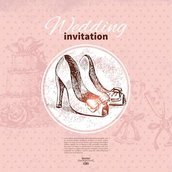 Zaproszenie na ślub. ręcznie rysowane ilustracja