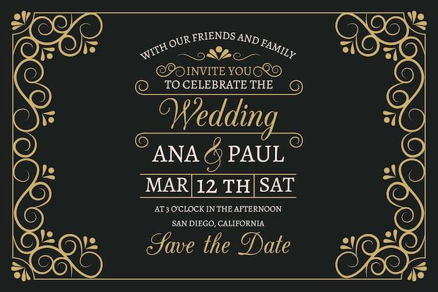 Zaproszenie na ślub rocznika z pięknym szablonem napis