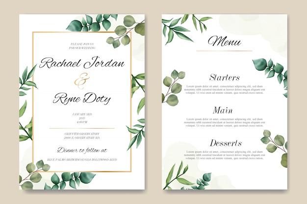 Zaproszenie na ślub romantyczny i szablon menu