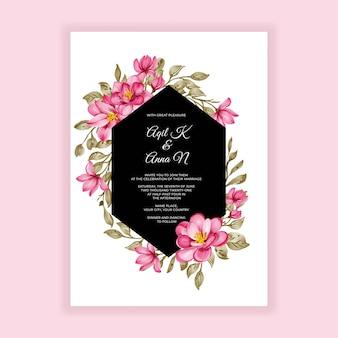 Zaproszenie na ślub romantyczny kwiat różowy akwarela rama