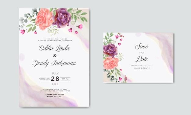 Zaproszenie na ślub romantyczny kwiat