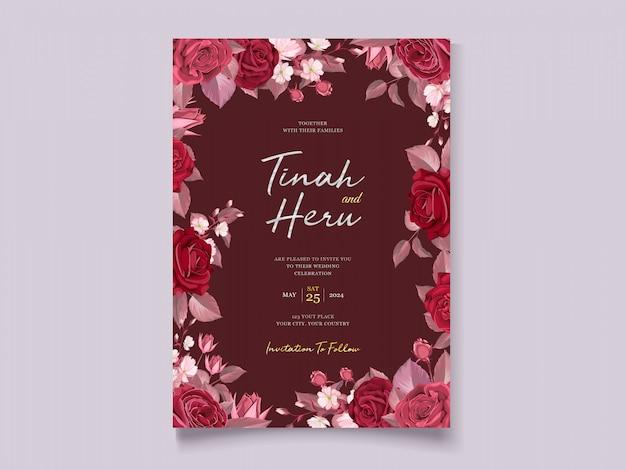 Zaproszenie na ślub romantyczny kwiatowy bordowy
