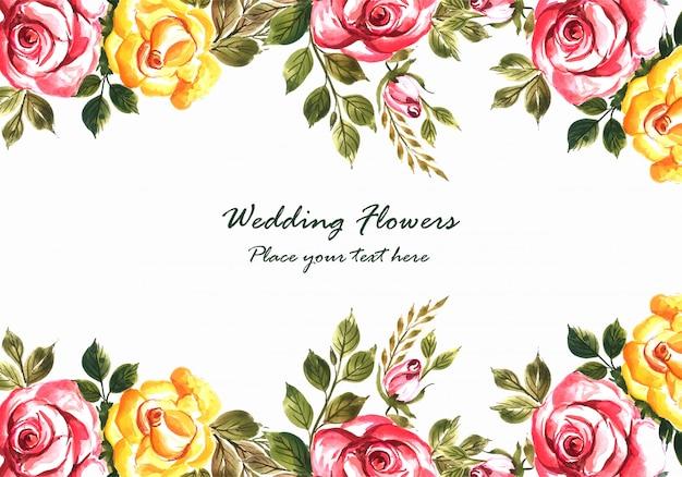 Zaproszenie na ślub romantyczny z szablonu karty kolorowe kwiaty