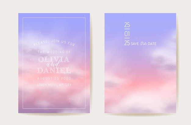 Zaproszenie na ślub różowe bawełniane chmury. magiczne pastelowe tło wektor wzór. luksusowe pastelowe zapisz datę. puszysta chmura zestaw kart ilustracyjnych