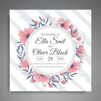 Zaproszenie na ślub różowy kwiatowy