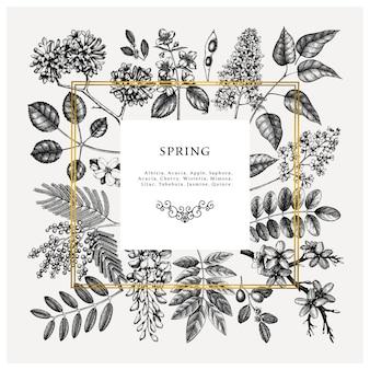 Zaproszenie na ślub, rsvp, kartka z życzeniami. rama z wiosennych drzew z kwiatami, liśćmi, szkicami gałęzi. elegancki wiosenny szablon kwiatowy - akacja, jaśmin, glicynia, bzy