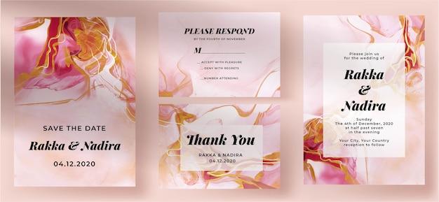 Zaproszenie na ślub streszczenie różowy złoty marmur