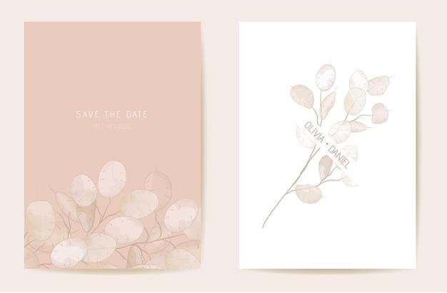 Zaproszenie na ślub suchy kwiat uczciwości. akwarela kwiatowy boho lunaria karty. botaniczny zapisz wektor szablonu daty. okładka z liści, nowoczesny plakat, modny design, luksusowa ilustracja tła