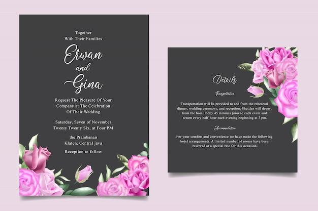 Zaproszenie na ślub szablon karty z akwarela kwiatów i liści