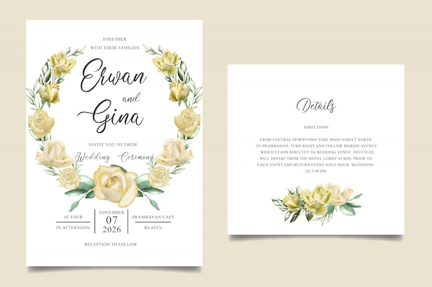 Zaproszenie na ślub szablon karty z akwarela kwiatowy i liści