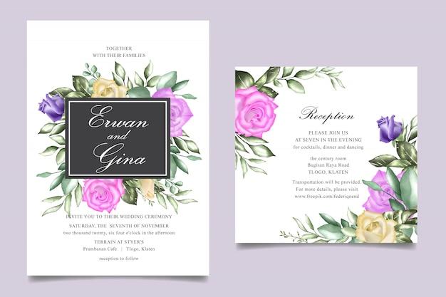 Zaproszenie na ślub szablon karty z akwarela kwiatowy