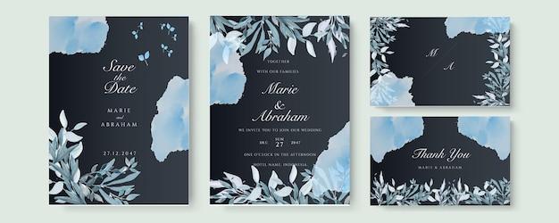Zaproszenie na ślub szablon karty z niebieskawymi akwarelami i rozgałęzieniem na czarnym tle