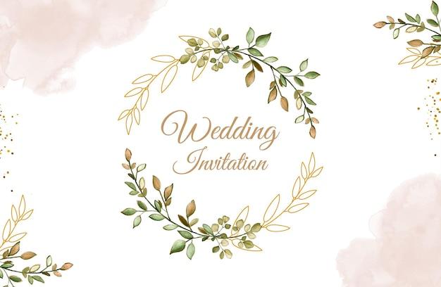 Zaproszenie na ślub tło z akwarelowymi liśćmi