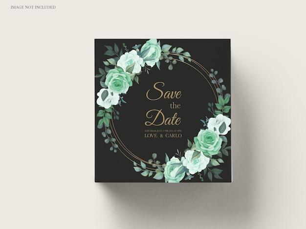 Zaproszenie na ślub ustawić szablon z zielenią kwiatowy