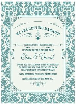 Zaproszenie na ślub vintage z turkusowymi detalami
