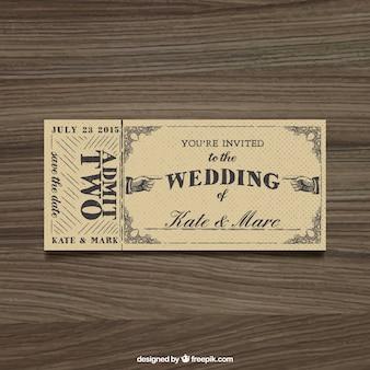 Zaproszenie na ślub w stylu biletu