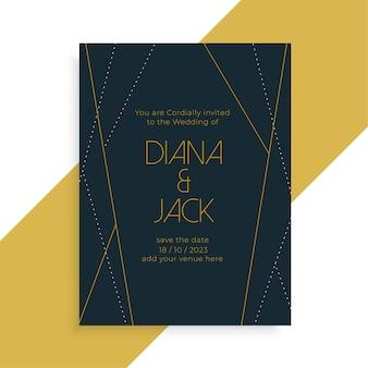 Zaproszenie na ślub w stylu geometrycznej linii ciemny szablon projektu