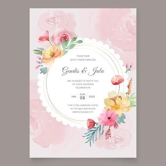 Zaproszenie na ślub w stylu vintage kwiatowy akwarela