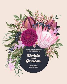 Zaproszenie na ślub w stylu vintage z bardzo szczegółowymi kwiatami i liśćmi