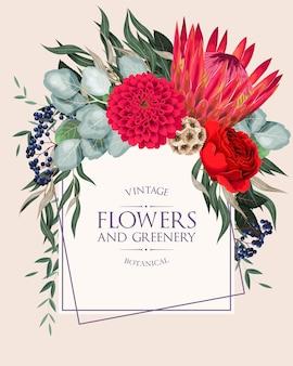 Zaproszenie na ślub w stylu vintage z bardzo szczegółowymi kwiatami i sukulentami