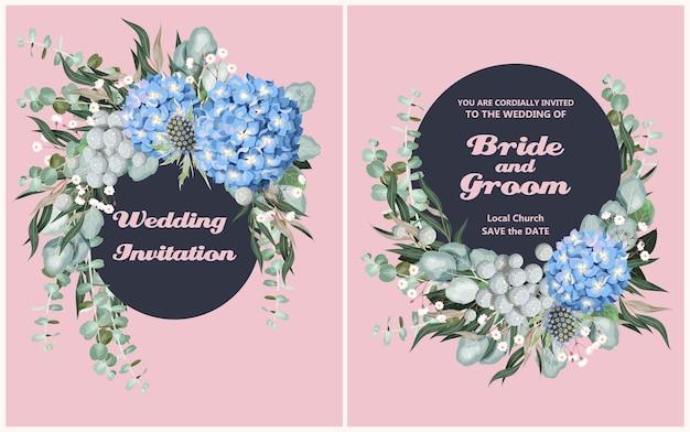 Zaproszenie na ślub w stylu vintage z bardzo szczegółowymi kwiatami i zielenią