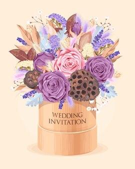 Zaproszenie na ślub w stylu vintage z bardzo szczegółowymi suchymi kwiatami
