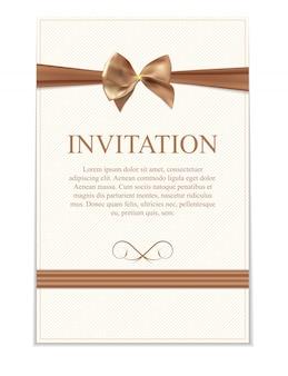 Zaproszenie na ślub w stylu vintage z kokardą i wstążką szablon i