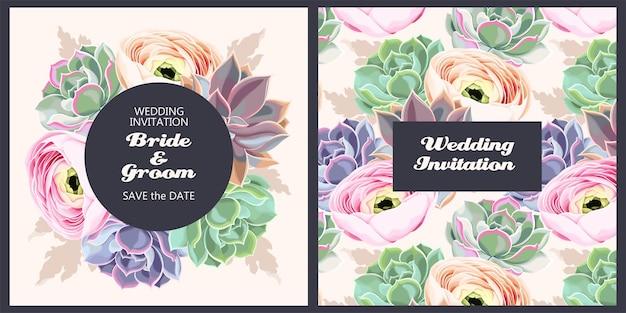 Zaproszenie na ślub wektor z kwiatami i sukulentami