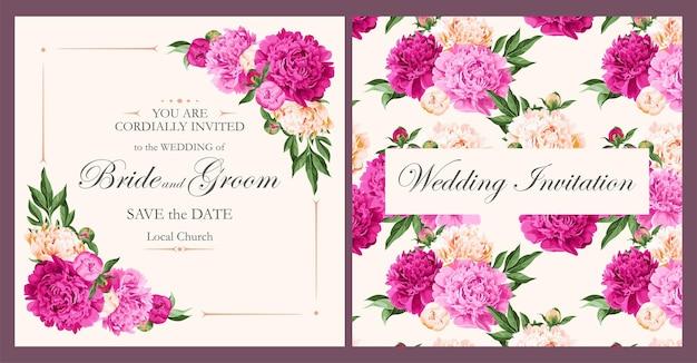 Zaproszenie na ślub wektor z piwonie