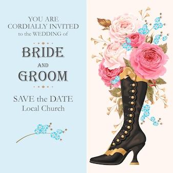 Zaproszenie na ślub wektor z rocznika buta i kwiat