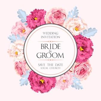 Zaproszenie na ślub wektor z rocznika kwiatów
