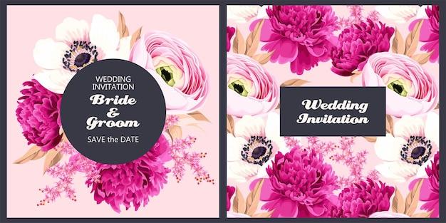 Zaproszenie na ślub wektor z różowymi wiosennymi kwiatami