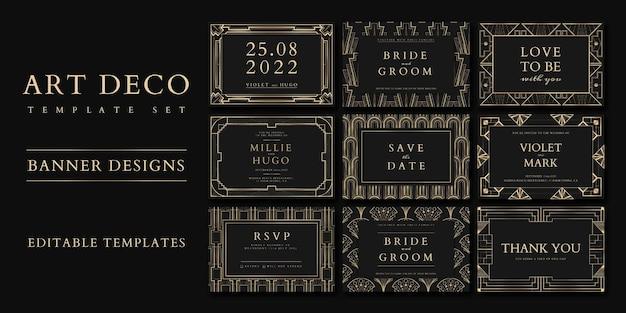 Zaproszenie na ślub wektor zestaw szablonów dla banerów społecznościowych z wzorami art deco