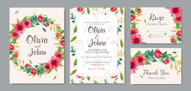 Zaproszenie na ślub wieniec z piękną akwarelą w tle kwiatów