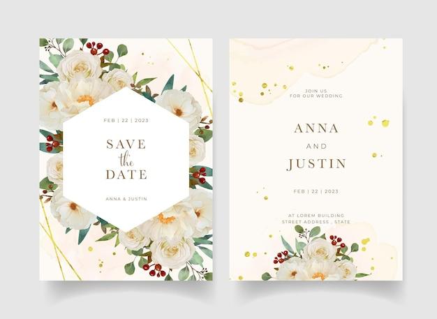 Zaproszenie na ślub z akwarela biała róża i kwiat piwonii