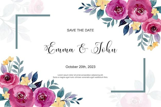 Zaproszenie na ślub z akwarelą bordowych róż