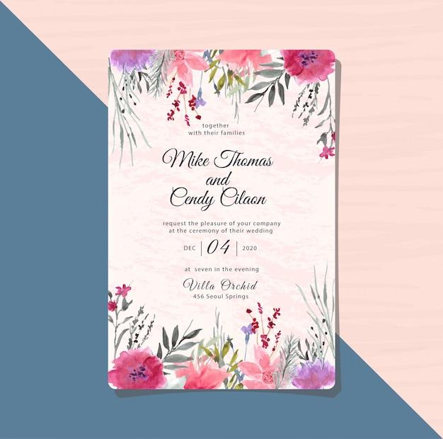 Zaproszenie na ślub z akwarela fioletowy kwiat