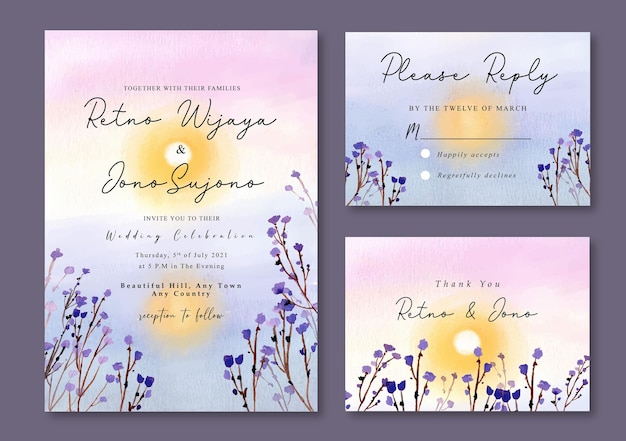 Zaproszenie na ślub z akwarelą fioletowy zachód słońca i żółte słońce w jeziorze