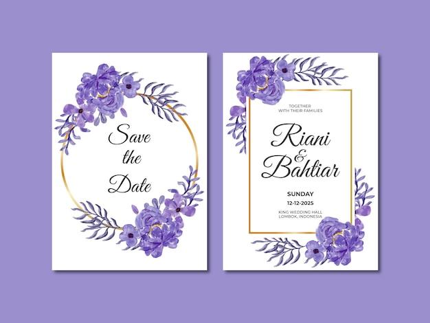Zaproszenie na ślub z akwarela fioletowymi kwiatami