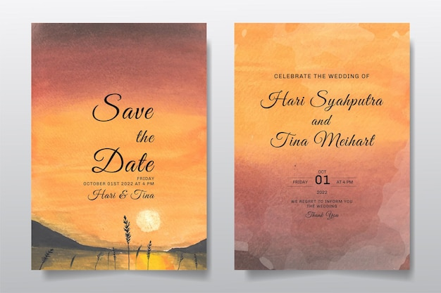 Zaproszenie na ślub z akwarela krajobraz niebo i jezioro zachód słońca